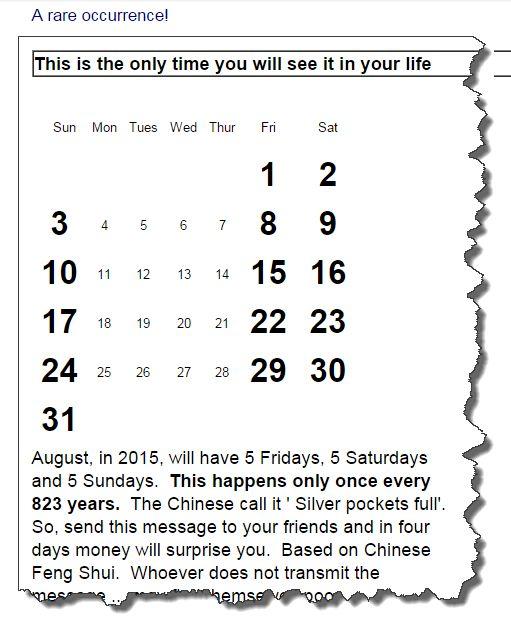 silverpocketsfull - Five Saturdays, Five Sundays, Five Fridays. Happens every 823 years
