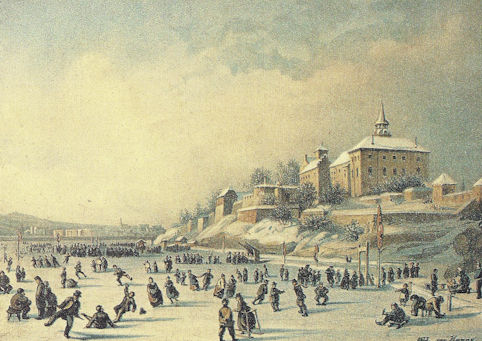 Germans enjoying a frozen lake in the 1800's